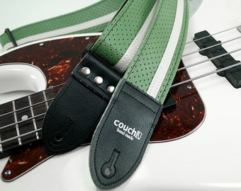 70s El Camino Guitar Strap, Sage Green, Made of Vintage Chevy Car Vinyl, Vegan, Made in USA