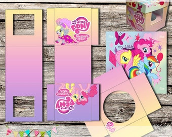 My Little Pony Style Cupcake Box - INSTANT DOWNLOAD - Printable, Digital File