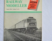 Railway Modeller, August 1964 Edition, Vintage Magazine, British Trains, UK, 1960s, Model Trains, Green, Advertising, Pictures, Set-Ups
