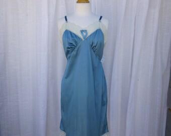 Slip Dress 38/40 L/XL Turquoise Blue Glam Garb Handmade USA Romantic Dress Victorian Nightie Vintage Steampunk Hand Dyed Rockabilly Bohemian