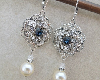 Pearl bridal earrings Something Blue Earrings Bridal Wedding Earrings Rhinestone Wedding Bridal Earrings Chandeliers earrings ROSELANI