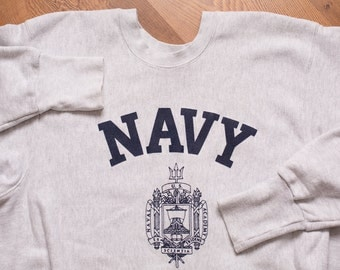 NAVY Midshipmen Store Sweatshirt, United States Naval Academy, Vintage 80s-90s