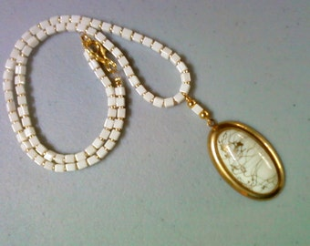 Ivory and Gold Necklace with Vintage Pendant (0891)
