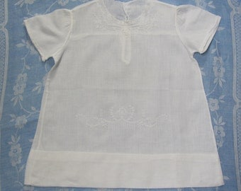 Vintage Embroidered Short Sleeve White Cotton Infant Baby Dress
