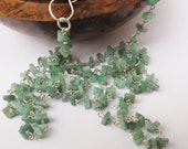 Emerald necklace, square emerald necklace, sterling silver, real emerald, green beaded necklace, long necklace, something special