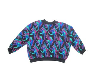 new wave nouveau inspired baroque floral print teal blue turquoise purple magenta pullover unisex mens women sweater dolman 80s 1980s L XL
