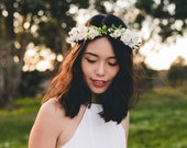 blossom and forest bridal wedding flower crown // Flore - cream / bohemian floral headpiece flower crown