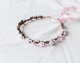 flower girl children's flower crown // baby pink / wedding flowergirl kids size floral hair wreath headpiece, nature bohemian