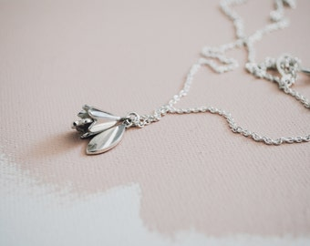 Silver Tulip necklace. Double pendant, Kinetic, Flower, Leaf, Nature, Garden, Botanical jewelry