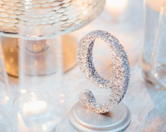 Set of 25 glitter table numbers for wedding party or events for Glitter numbers for centerpieces