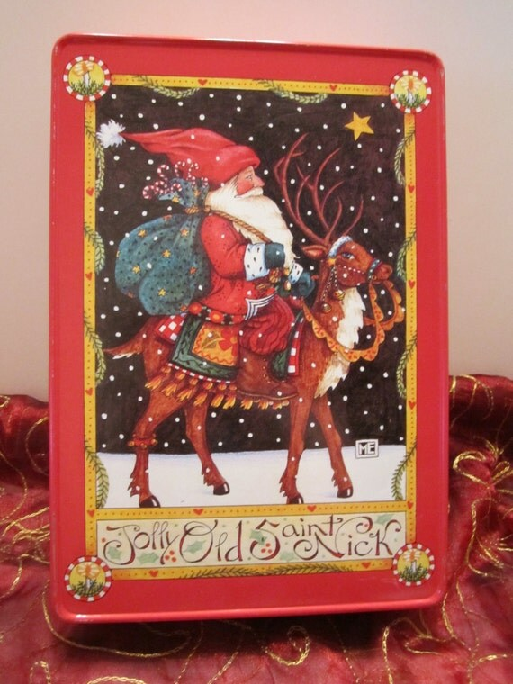 Mary Engelbreit Saint Nick Christmas Tin - Vintage Christmas Tin - Collectible Christmas Tin - Jolly Old Saint Nick