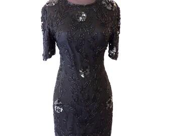 SALE vintage sequin dress - 1980s JMC black silk keyhole-back sequined silk party dress