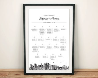 Seating Sign for Wedding, Digital file, any size, with NYC skyline, completely customizable, available in any skyline; DIGITAL FILE