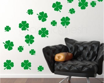 Wall decals SHAMROCKS 20 PACK Interior decor for St. Patrick St. PATTY'S - Wall art by Graphics Mesh
