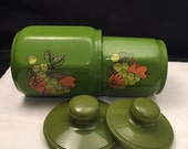 Kromex Nesting Kitchen Canisters,  Set 2,  Avocado Green,  Pear, Grapes, Flowers, Kitchen Storage