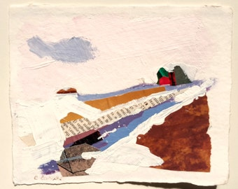 Small Collage Mixed Media on Recycled Paper Colorful Papers & Gouache Paint Rural Scene