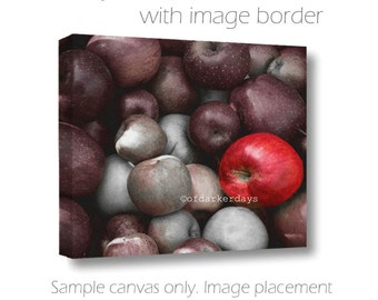 Apple Photography-Food Wall Art-Nature-Canvas Wrap-Horizontal Art-Gray & Burgundy Wall Decor-Fairy Tale Art-Kitchen Art-Dark Photography
