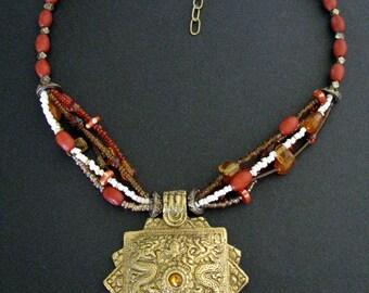 Vintage Bhutan or  Arunachal Pradesh Koma Brooch Style Necklace, 10kt Gilt Lost Wax Cast Brass Pendant, Gilt Cube Beads, Old Trade Beads,75g