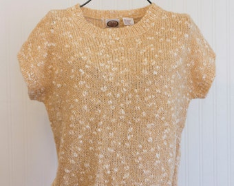 Vintage  Spring Sweater, 80's Fashion Golden Caramel Size S Small,  Picked and Post, Made in Taiwan, Office Business Wear