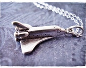 Silver Space Shuttle Necklace - Sterling Silver Space Shuttle Charm on a Delicate Sterling Silver Cable Chain or Charm Only