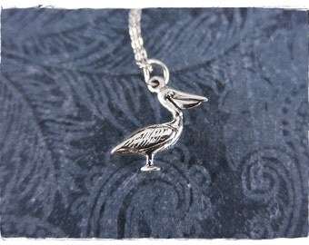 Silver Pelican Necklace - Sterling Silver Pelican Charm on a Delicate Sterling Silver Cable Chain or Charm Only