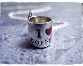 Silver I Love Coffee Mug Necklace - Sterling Silver I Love Coffee Mug Charm on a Delicate Sterling Silver Cable Chain or Charm Only