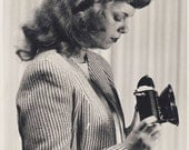 Pretty Young Woman in Profile Holding Her CAMERA As She Is About To TAKE a PICTURE Photo Circa 1950