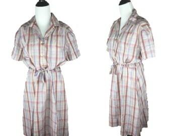 60s Plaid Dress / 1960s Day Dress / 70s Shirtdress / 60s Shirt Dress / Vintage Plaid Dress / Pink Plaid Dress / Button Up Dress / XXL Plus