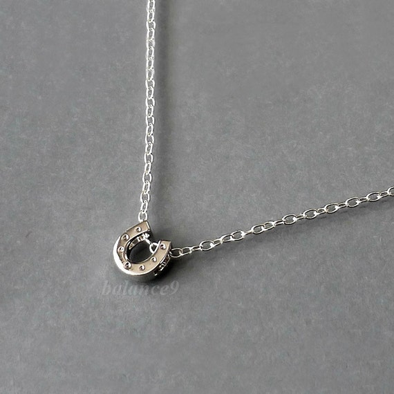 Horseshoe Necklace, Sterling silver small charm necklace, Dainty good luck pendant, simple everyday jewelry, holidays gift, by balance9