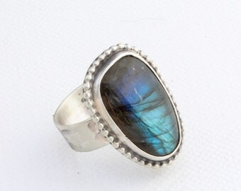 Labradorite Statement Ring in Sterling Silver Size 8.5