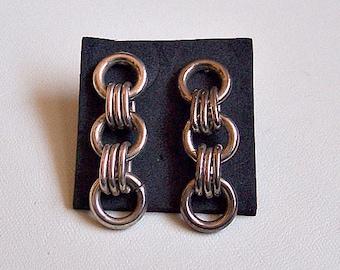 Round Ring Hoop Pierced Post Stud Earrings Silver Tone Vintage Triple Oval Loops Long Dangles