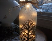 Bare Tree Lighted Bottle,bare trees,tree,trees,winter trees,wine bottle lights,wine bottle light,lamp,wine bottle lamp,home and living,lamps