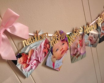 Monthly Photo Banner. Handcrafted in 2-3 Business Days.  Pink and Gold 1st Birthday.  First Birthday Garland.