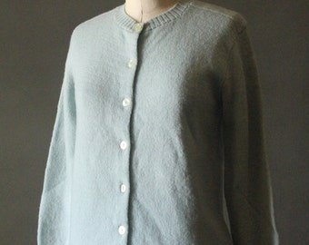 Vintage 50's Baby Blue Knit Button Up Cardigan Sweater by Garland Sheltie Mist