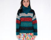lunar light 80's mohair sweater /// funnel high neck /// jewel tone teal red black stripes /// fuzzy mohair /// rare /// by Monna Lisa