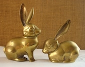 2 BRASS BUNNY RABBITS Heavy Brass Big Ears Bunny Rabbits Easter Bunny Woodland Nature Decor Pair of Rabbits Solid Brass Bunny Paperweight
