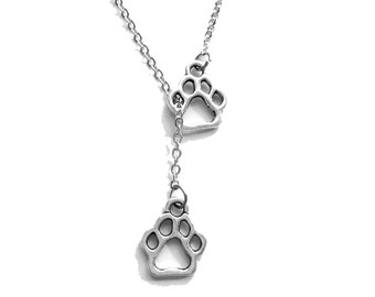 Tiny Paws Lariat Y-Necklace, Puppy Footprints Necklace, Dogs Lover gift Pendant, Vet Pet Gift, in Memory of, Remembrance, Puppy Paw Prints