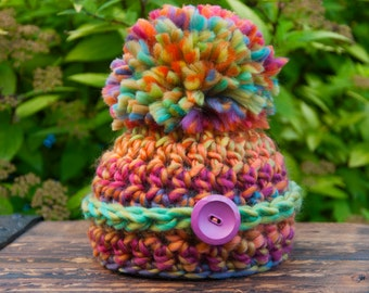 Newborn Button Pom Colorful Rainbow Hat Prop READY TO SHIP