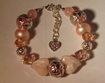 Two Beige Hearts and Pink Beads Bracelet