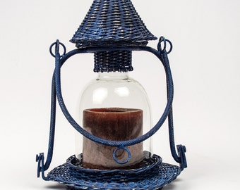 Boho Candle Lantern Metal Faux Wicker Pillar Holder Tabletop Decor Hanging Lantern Hand Painted in Distressed Navy Blue