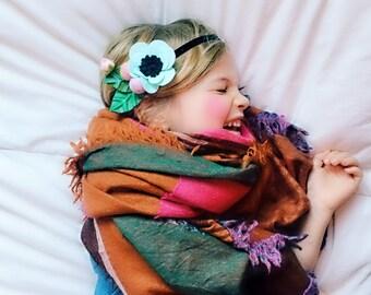 Felt Flower Headband Crown Hair Halo, Hair Flowers, Alice in Wonderland Mint Quirky Flower, giddyupandgrow