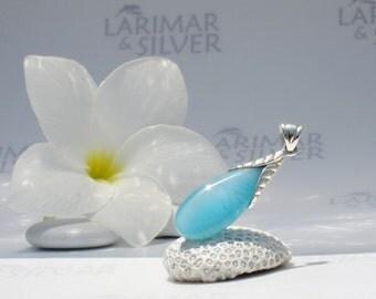 Larimarandsilver pendant, Pure Caribbean - azure Larimar drop, Caribbean blue, turquoise blue, aqua drop, sea drop, handmade Larimar pendant