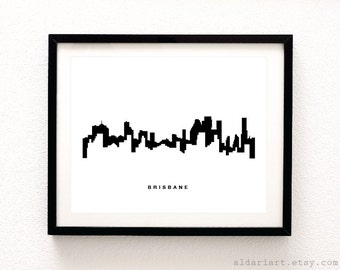 Brisbane Skyline Print - Brisbane Cityscape Print - Brisbane Australia Wall Art - Brisbane Skyline Wall Art - Modern Decor - Aldari Art