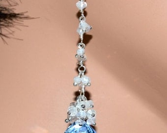LP 1314 Trillion Cut Sky Blue Lab Topaz And Moonstone Chain Earrings
