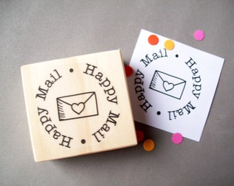 Happy Mail Stamp - Rubber Stamp with Envelope , Pretty Packaging