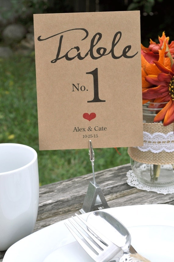 Rustic Wedding Table Numbers Personalized Wedding Reception Table