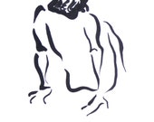 Original Sumi Figure Painting, 25% OFF SALE! Black, White, Female, Nude, Woman, Brush & Ink, seated, back, relax, gift, home decor, wall art