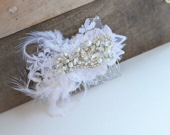 Bridal Lace Rhinestone and Pearl Hair comb, White Lace and Feather hair comb, Bridal Couture Lace Rhinestone and Pearl hair comb, Hair comb