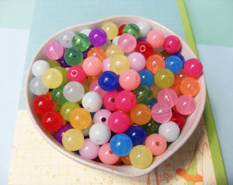 50x 10mm Cute Jelly Resin Multi color Globe beads ..