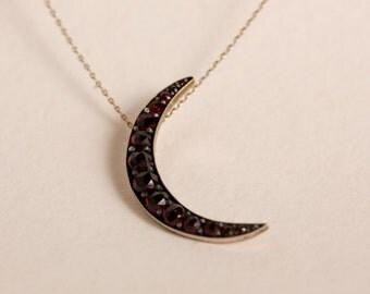 Antique Victorian Sterling & GF Garnet Crescent Moon Conversion Pendant